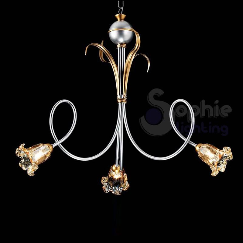 lampadario 3 luci classico argento ferro battuto vetri ambra