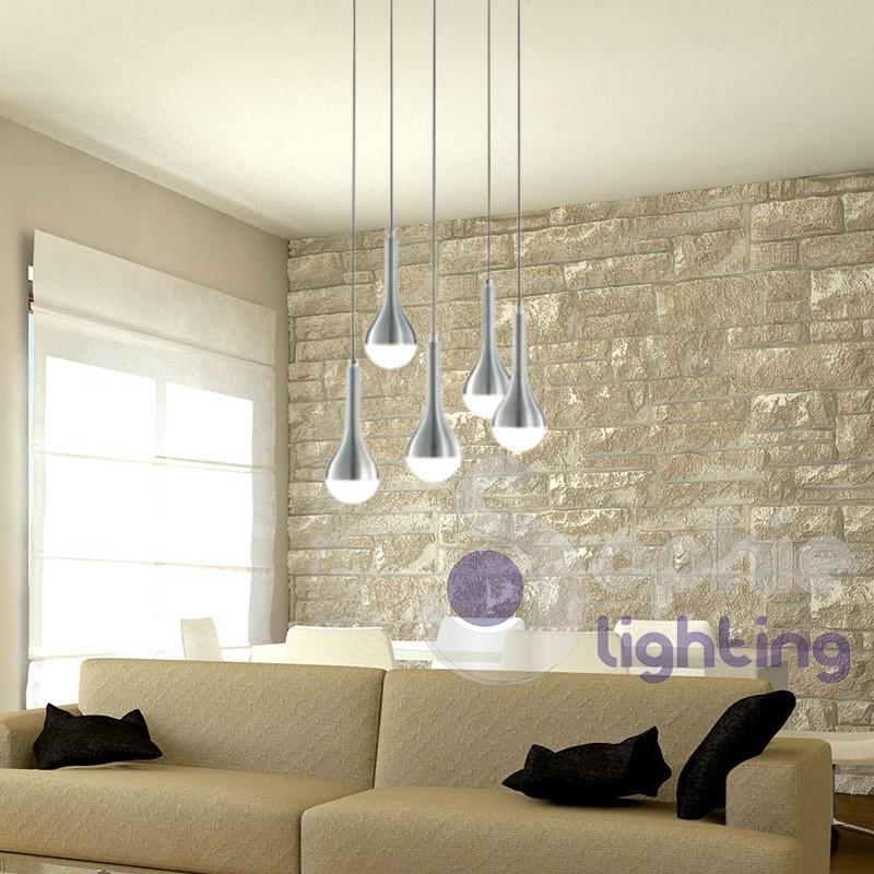 Plafoniera led design moderno 5 luci sospensioni regolabili - Luci soggiorno moderno ...