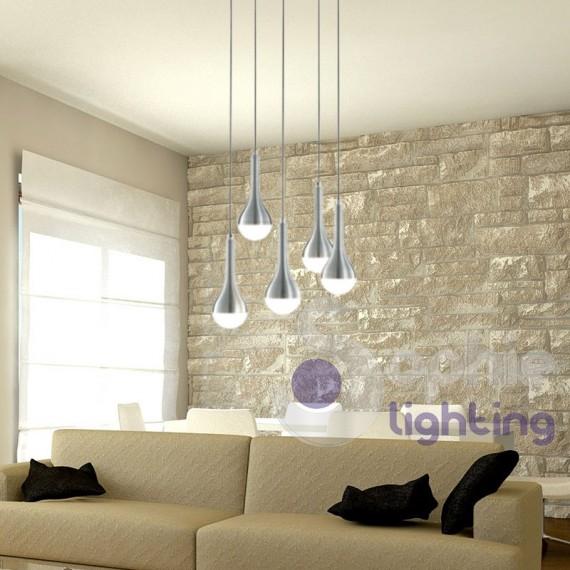 Plafoniera led design moderno 5 luci sospensioni regolabili for Plafoniere moderne