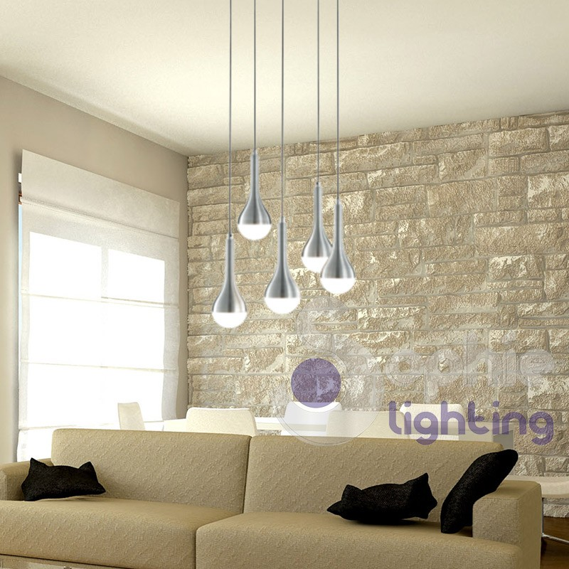 Plafoniera led design moderno 5 luci sospensioni regolabili