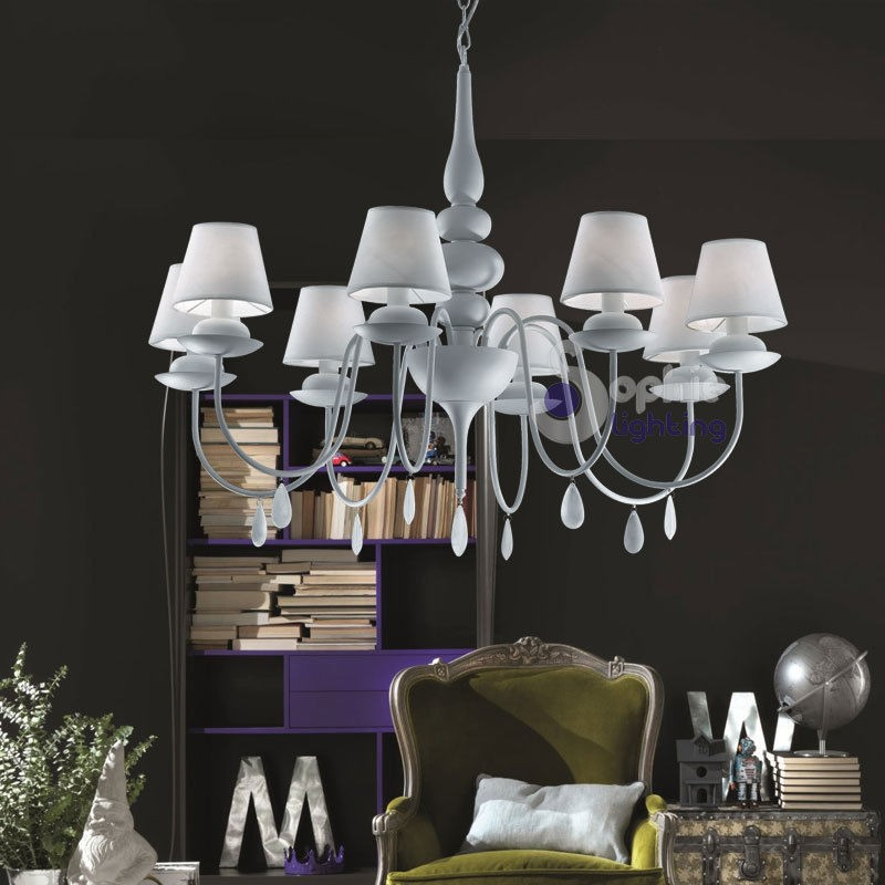 Lampadario design moderno paralumi bianchi shabby 8l lampadari clas...