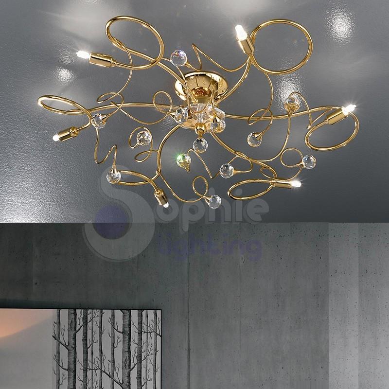 Plafoniera 6 luci moderna cromata oro sfere cristallo for Lampadari moderni per ingresso