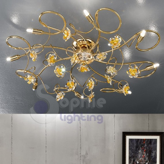 Plafoniera soffitto moderna colore oro fiori cristallo