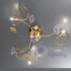Lampadario soffitto acciaio cromato oro fiori cristallo
