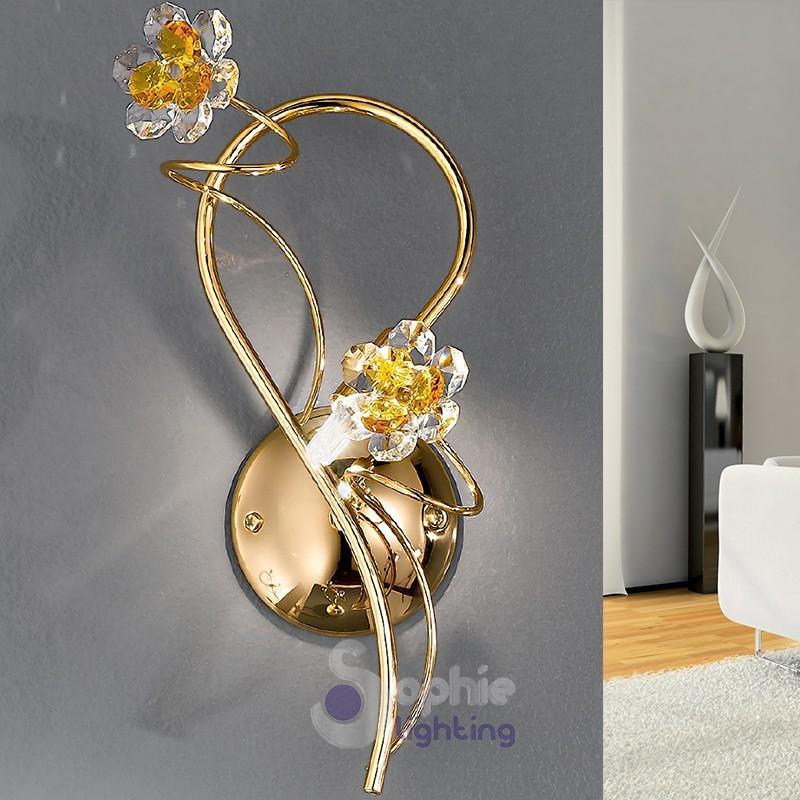 Applique design moderno colore oro fiori cristallo