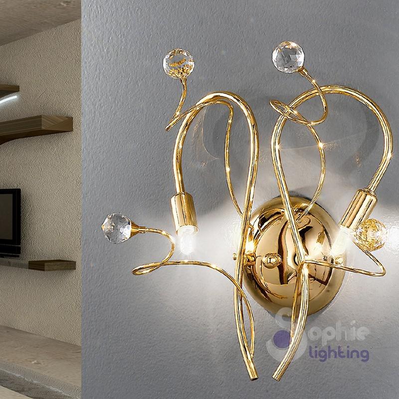 Applique moderno 2 luci cromato oro fiori cristallo