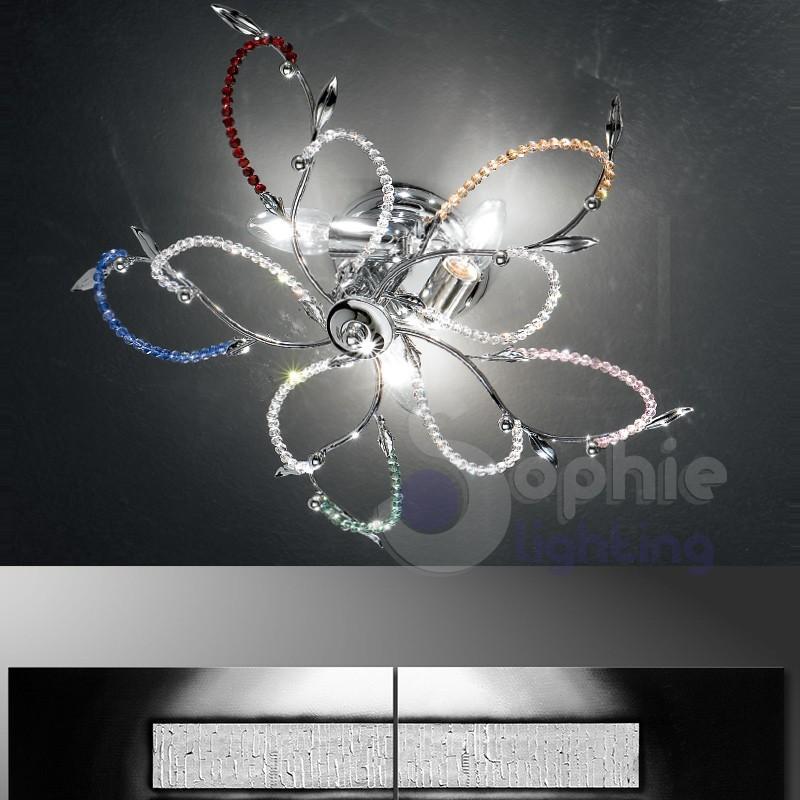 Plafoniera acciaio cromato perle cristallo multicolor for Lampadari in acciaio moderni