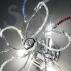Plafoniera acciaio cromato perle cristallo multicolor
