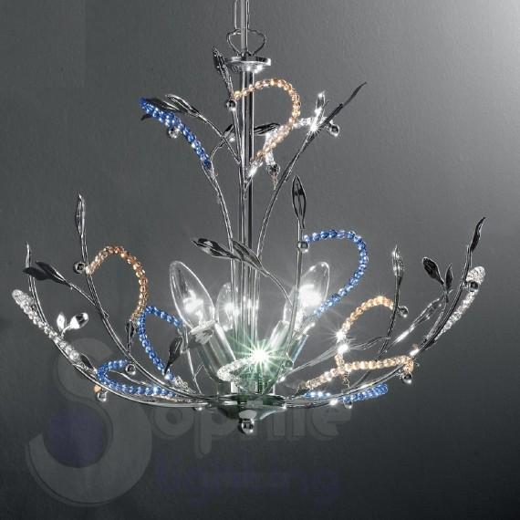 Lampadario design moderno cromato perle cristallo -> Lampadari Moderni Rettangolare