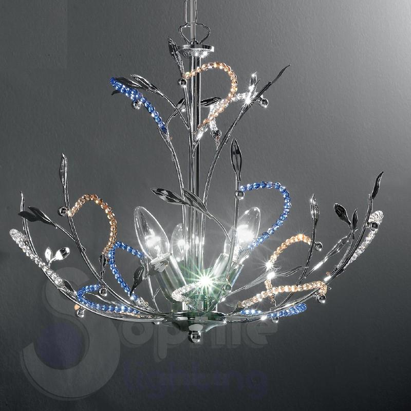 Lampadario design moderno cromato perle cristallo lampadari modern...