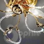 Plafoniera design moderno cromata oro foglie perle cristallo