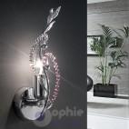 Applique parete design moderno foglie cristallo colorato
