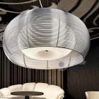 Lampada sospensione rotonda acciaio cromo cucina filo alluminio vetro