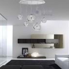 Lampadario sospensione grande design moderno sfere cromate.