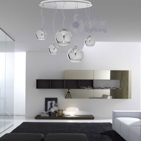 Lampadario sospensione grande design moderno sfere cromate - Lampadario sala da pranzo moderna ...