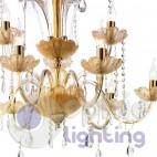 Lampadario 9 luci oro ambra cristalli pendenti