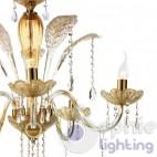 Lampadario design classico 5 luci oro graniglia ambra