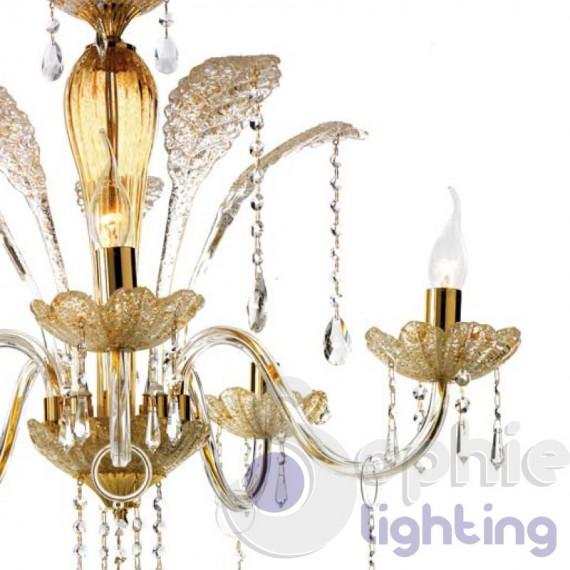 Lampadario design classico 5 luci oro graniglia ambra for Lampadario classico