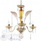 Lampadario design classico elegante oro ambra 3 luci