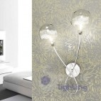 Applique muro 2 luci design moderno cromato sfere vetro