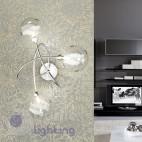 Lampada parete 3 luci contemporanea acciaio cromo sfere