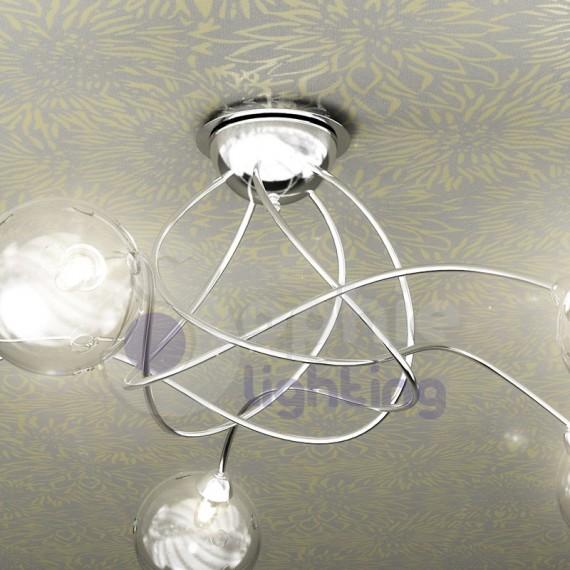 Lampada soffitto design moderno acciaio cromto palline