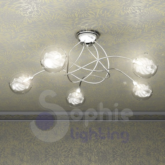 Lampada soffitto design moderno acciaio cromto palline for Lampada bagno soffitto
