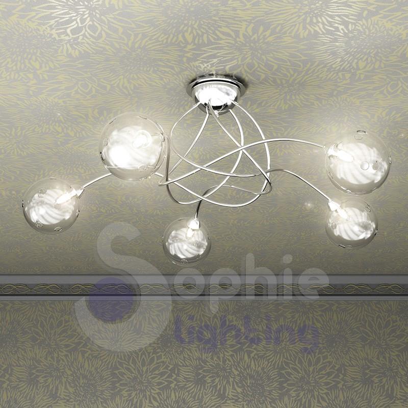 Lampadari A Soffitto.Lampada Soffitto Design Moderno Acciaio Cromto Palline
