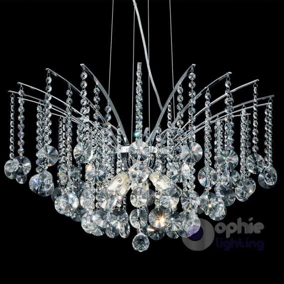 Lampadario pendenti in cristallo acciaio cromo for Lampadari in acciaio moderni