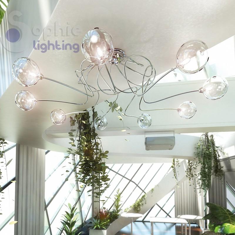 Plafoniera grande moderna 9 luci palline vetro salone for Plafoniera moderna