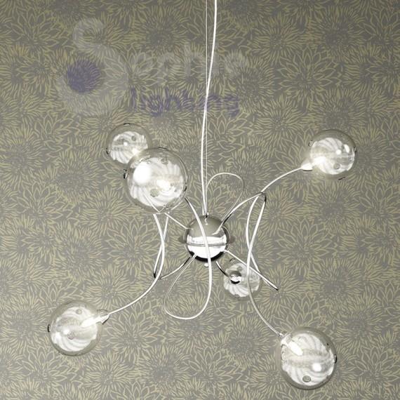Lampadario design moderno cromato 6 luci palline vetro