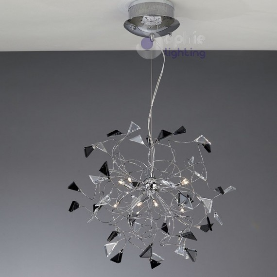 Lampada sospensione led acciaio cromato cristalli neri for Lampadari in acciaio moderni