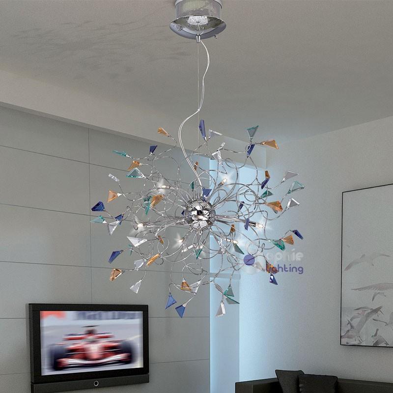 Lampadario cristalli pendenti cascata spirale d50 sospensioni moderne
