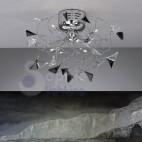 Plafoniera Led soffitto bracci cormati cristalli neri