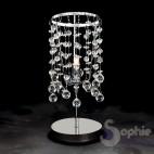 Lumetto abat jour moderno cromato pendenti cascata cristallo comodino