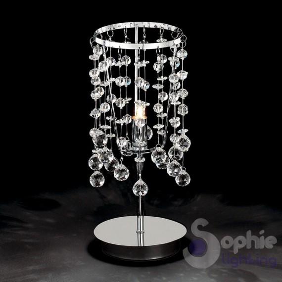 Lumetto moderno cromato pendenti cristallo for Lampade tavolo moderne