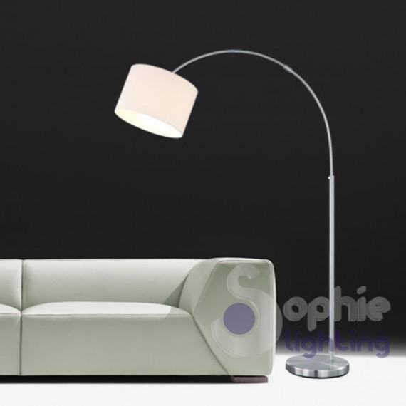 Lampada arco moderna nickel satinato paralume bianco