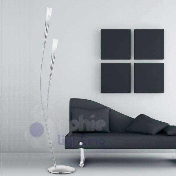 Piantana 2 luci arcuata design moderno acciaio satinato