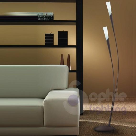 Piantana 2 luci design classico arcuata marrone ruggine