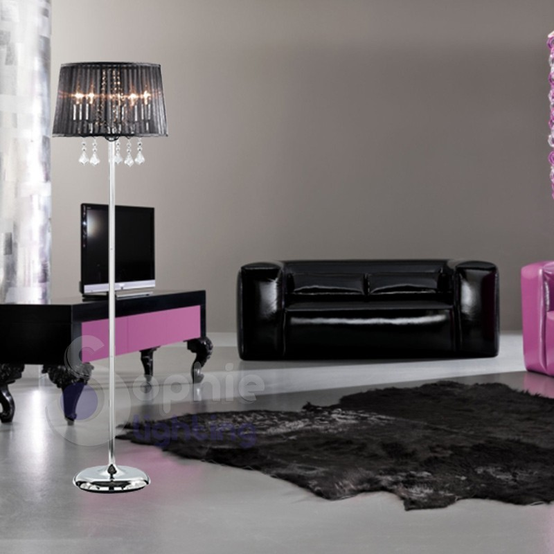 Lampada terra design moderno paralume nero cristalli