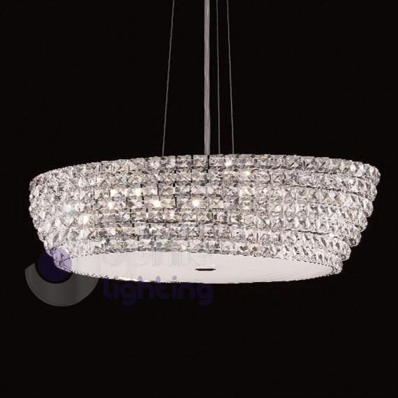 Sopensione design moderno cristallo acciaio cromato salone