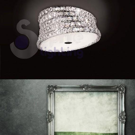 Plafoniera design elegante moderno cristallo cromata