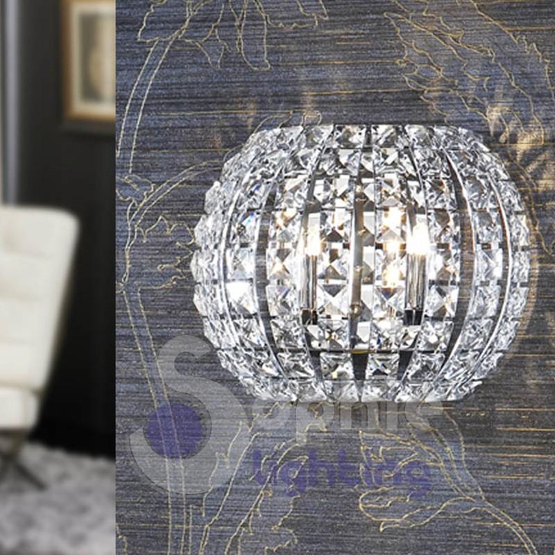 Applique parete design moderno acciaio cromo cristalli Applique Mod...
