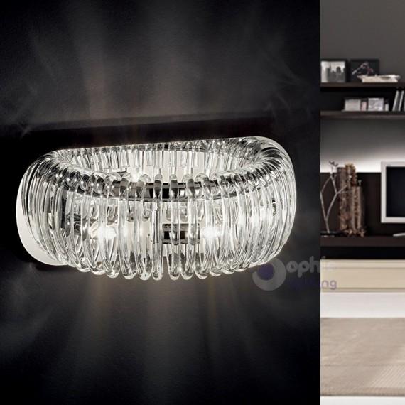 Lampada parete design moderno vetro pirex cromata corridoio