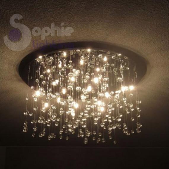 Plafoniera soffitto cristalli pendenti design moderno for Plafoniere moderne