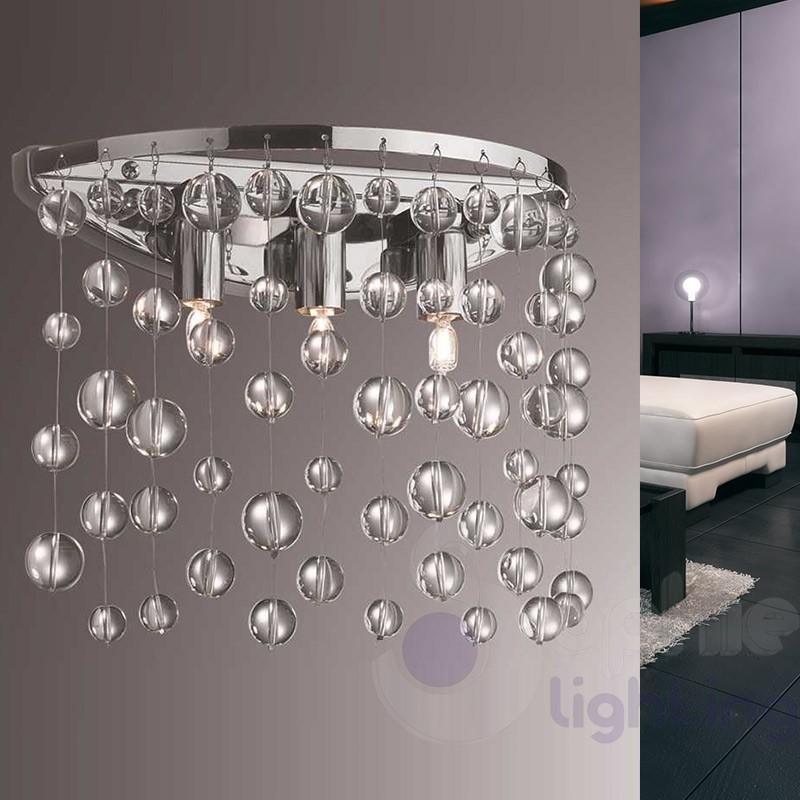 Applique moderno 3 luci pendenti cristallo cromato for Lampadari in acciaio moderni