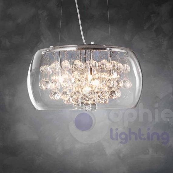 Lampadario sospensione rotondo vetro soffiato cristallo cucina -> Lampadari Per Cucina Originali