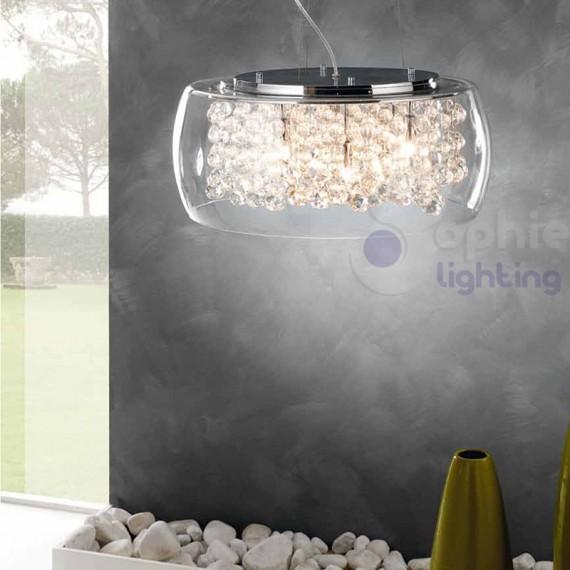 Lampadario sospensione rotondo vetro soffiato cristallo cucina -> Lampadario Cristallo Eleganti