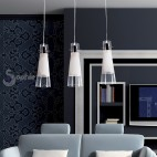 Lampada sospensione barra cromata 3 pendenti vetro soffiato penisola