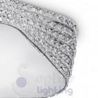 Plafoniera moderna design cristalli acciaio cromato salone